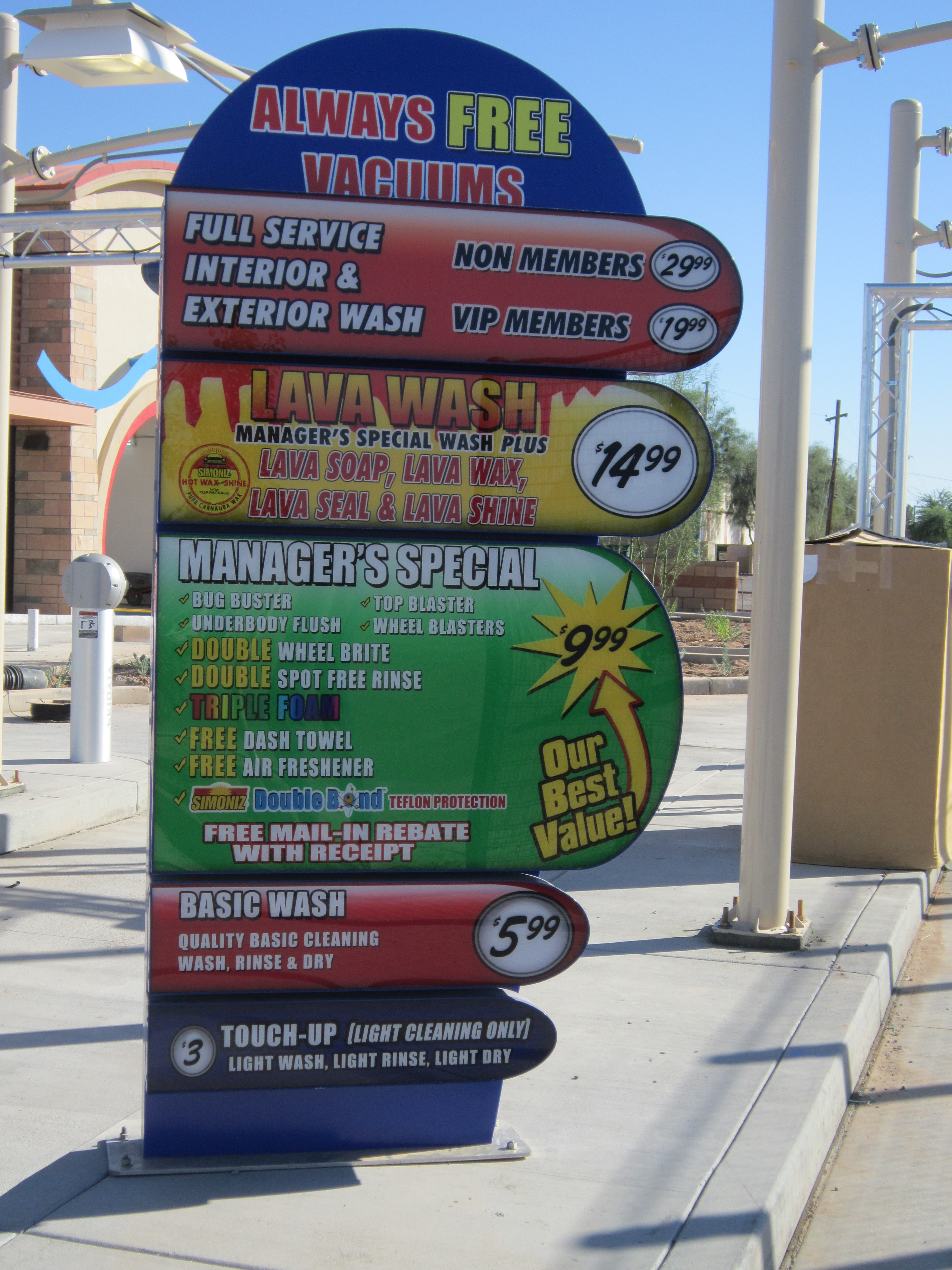 First look at the prices of the Maricopa car wash - Brian