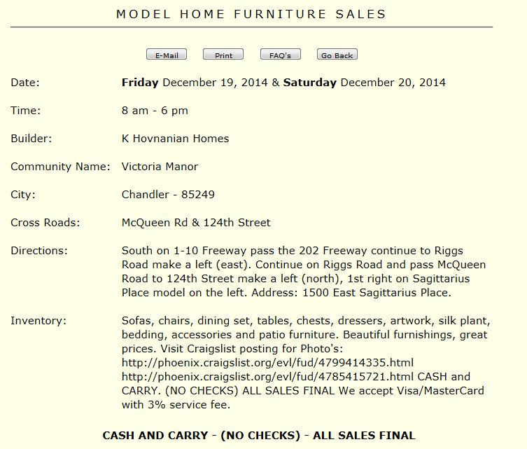Model Home Furniture Sale This Weekend Fri 12 19 Sat 12 20 In Chandler Brian Petersheim